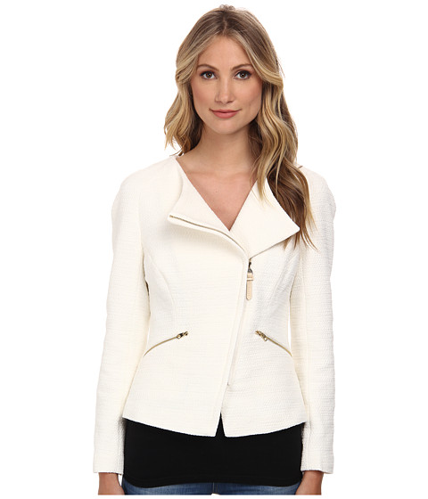 Ted Baker - Ayeleen Zip Fold Front Biker Jacket (Cream) Women's Coat