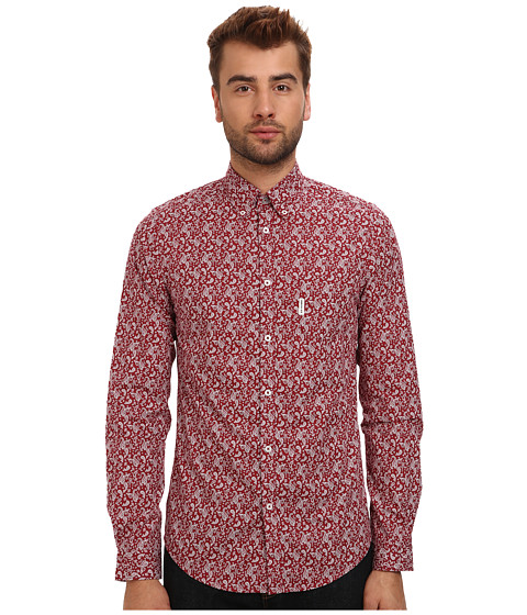 Ben Sherman - L/S Digital Paisley (London Brick) Men's Clothing
