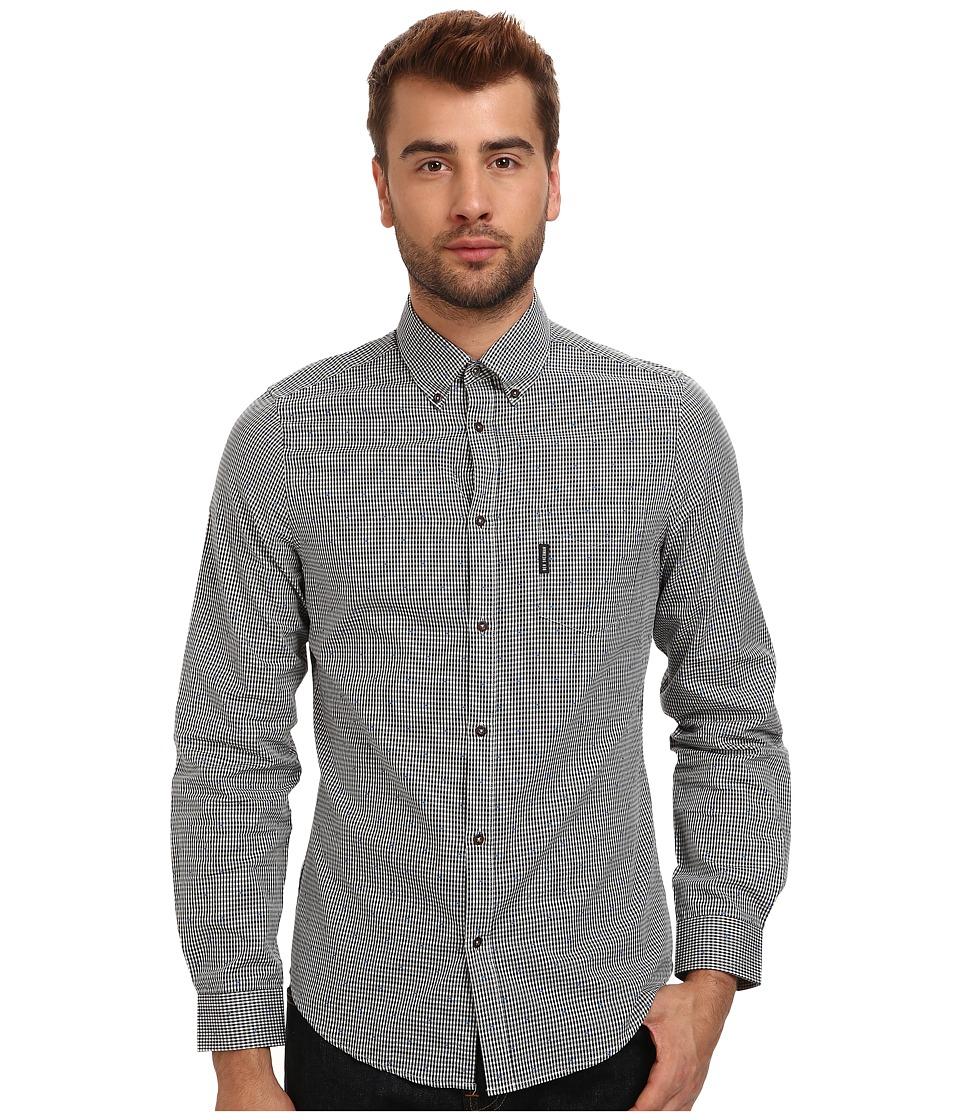Ben Sherman - L/S Dobby Gingham (Jet Black) Men's Long Sleeve Button Up