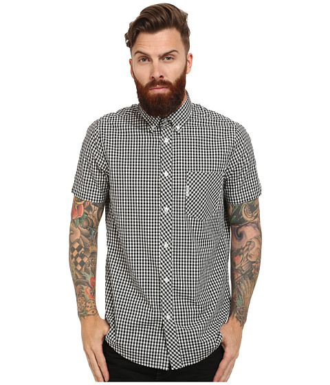 Ben Sherman - Gingham Mod Short Sleeve (Jet Black) Men's Clothing
