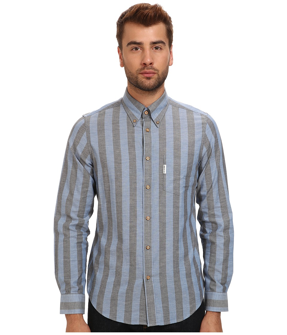 Ben Sherman - L/S Marl Candy Stripe (Blue Depths) Men's Clothing