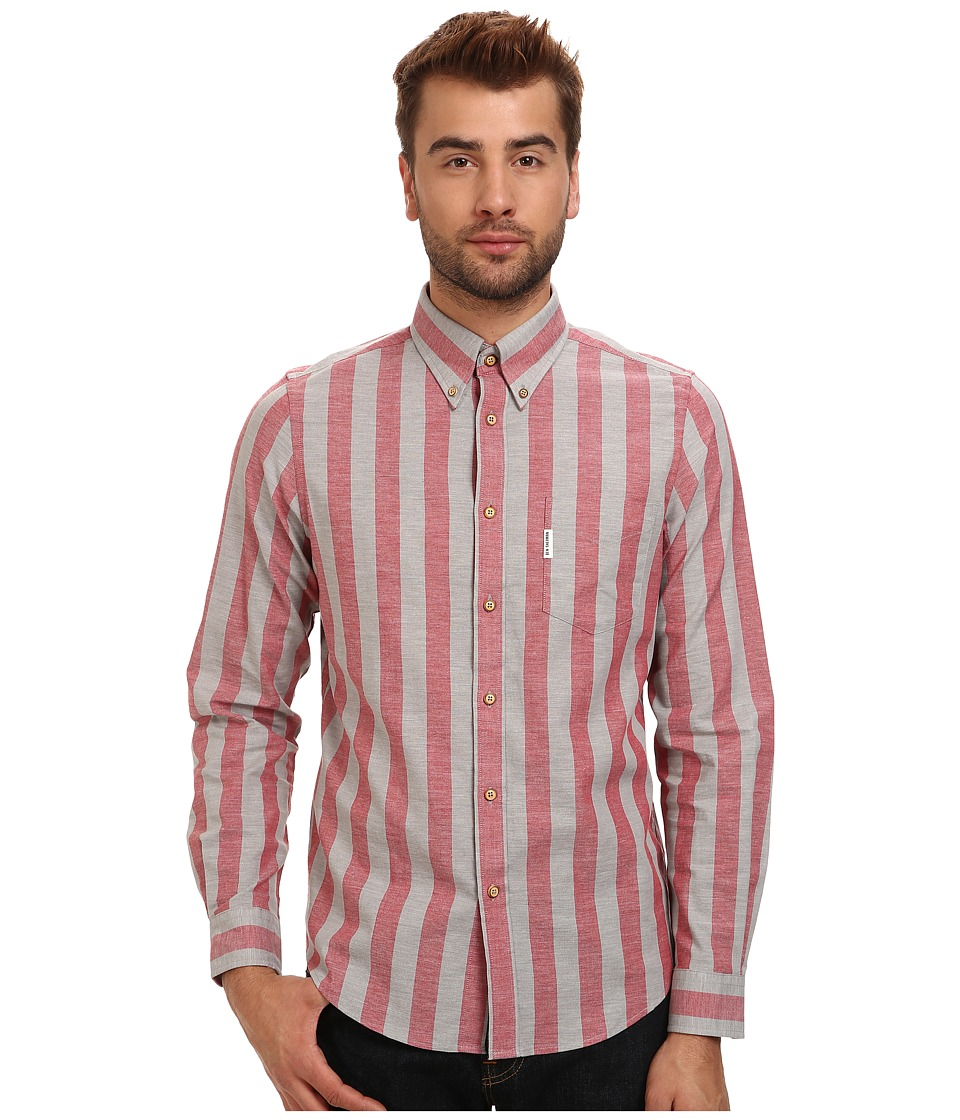 Ben Sherman - L/S Marl Candy Stripe (Fiesta) Men's Clothing