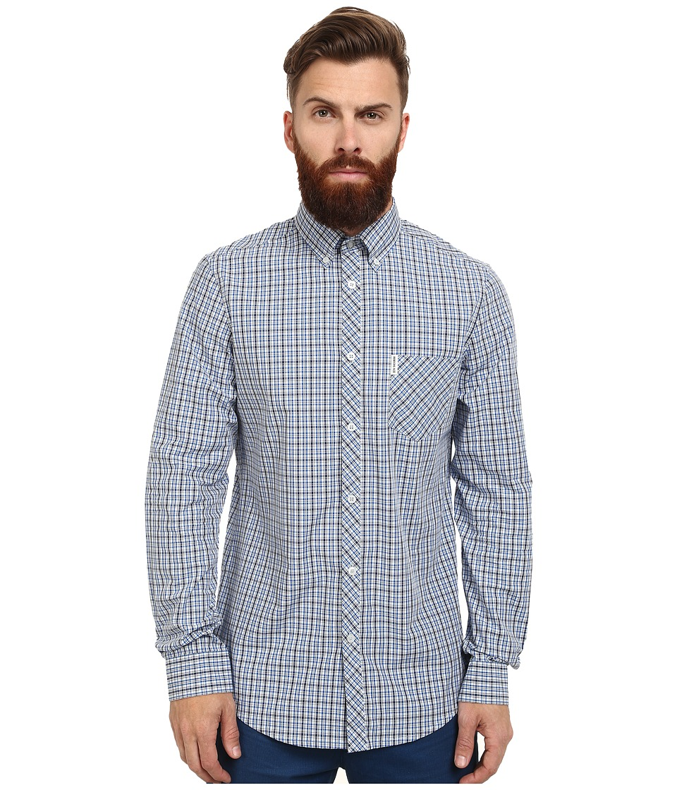 Ben Sherman - Long Sleeve Mini Check Pop (Sky Blue) Men's Clothing