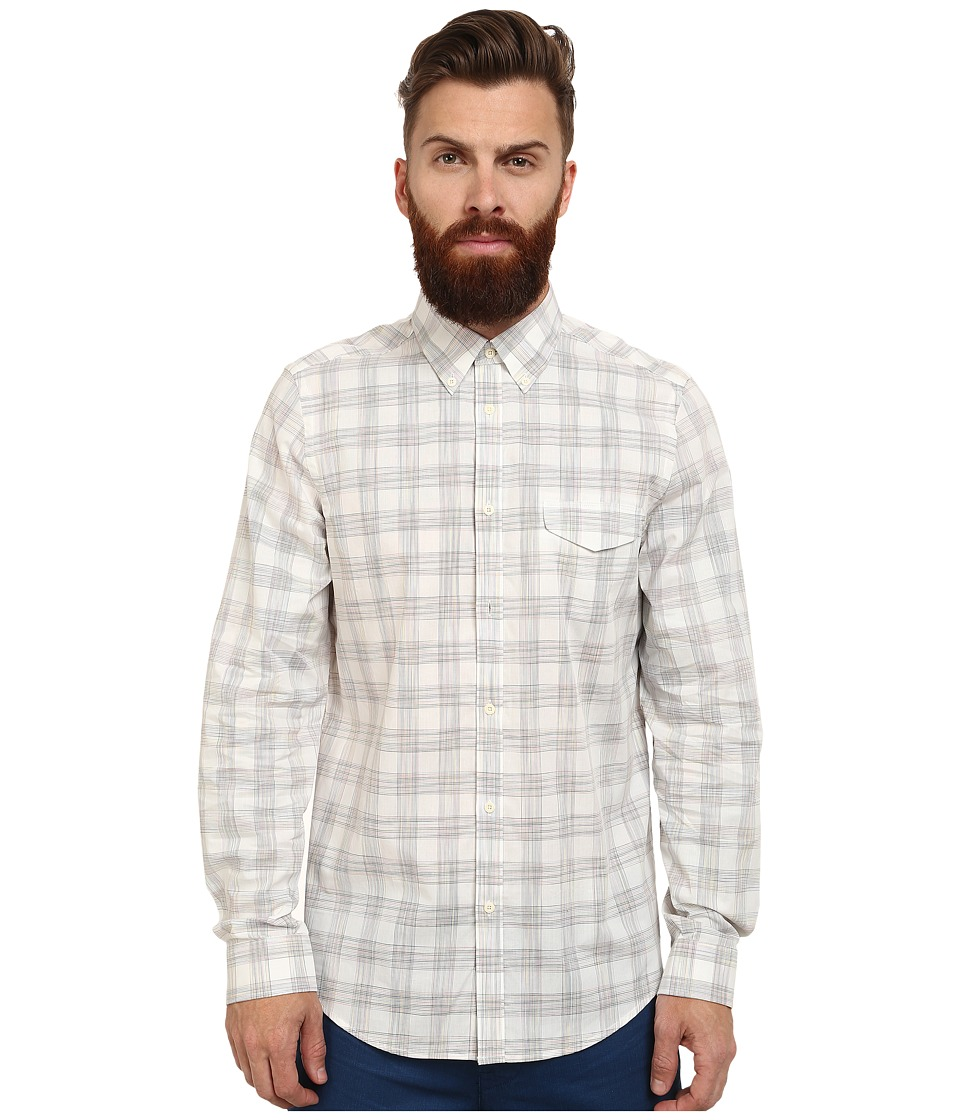Ben Sherman - Long Sleeve Space Dye Grid Check (Off White) Men