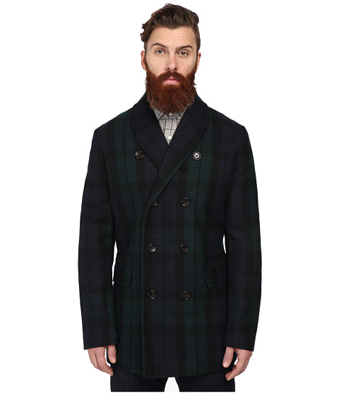 Ben Sherman - Check Shawl Collar Peacoat (Pine Grove) Men