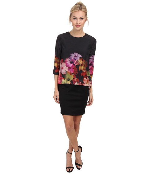 Ted Baker - Cadie Cascading Floraloverhung Tunic (Black) Women's Blouse