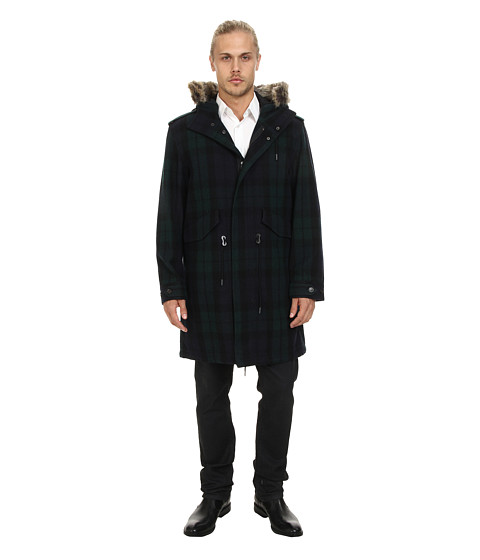 Ben Sherman - Check Wool Parka (Pine Grove) Men's Coat