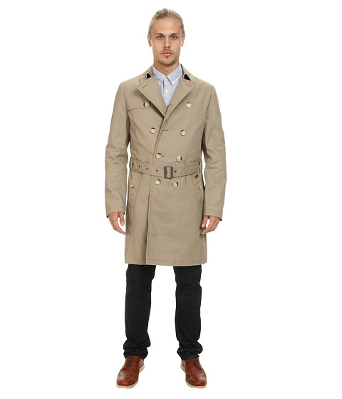 Ben Sherman - DB Twill Trench (Moon) Men's Coat
