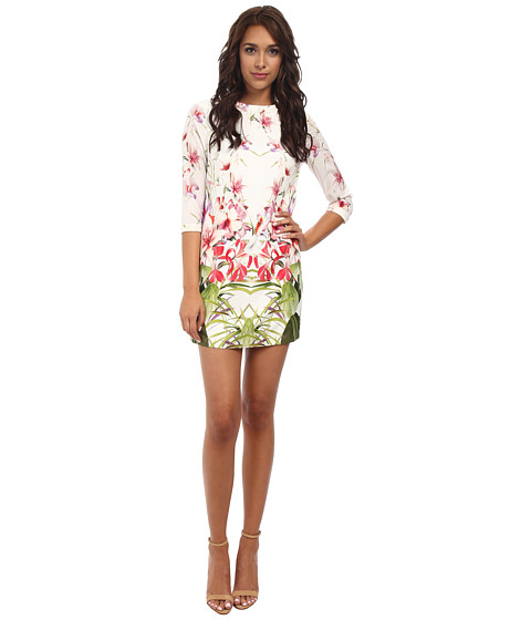 Ted Baker - Oletta Mirrored Tropics Ruffle Tunic (Ivory) Women's Blouse