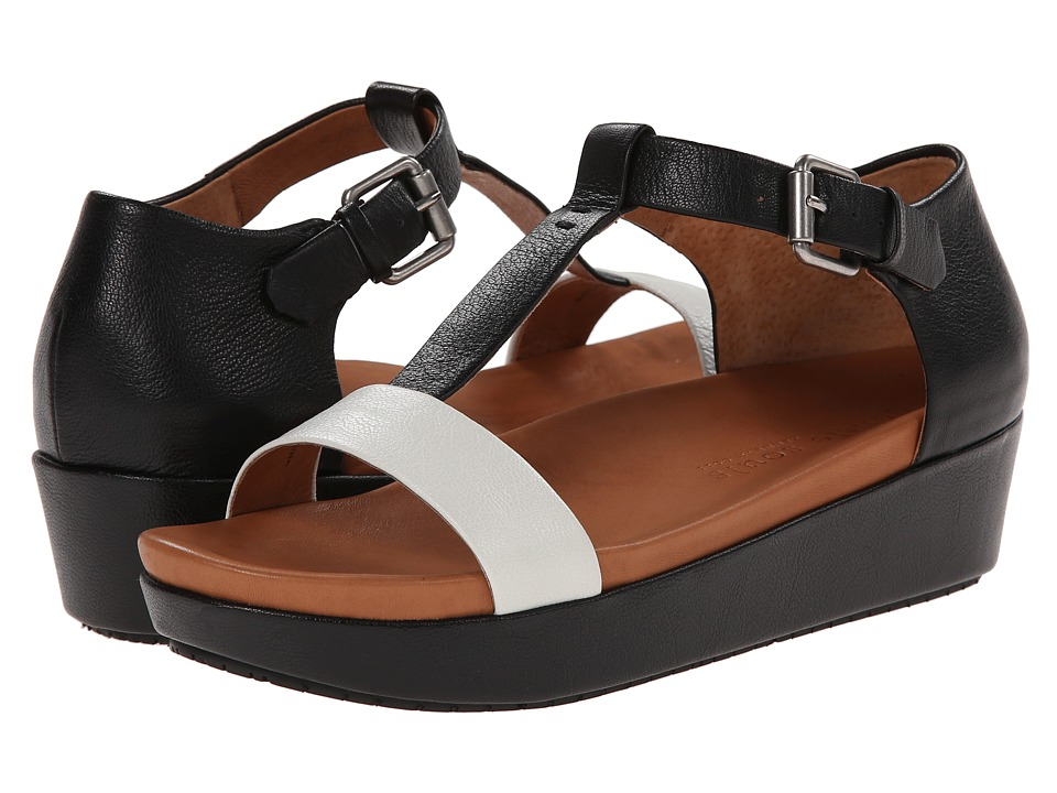 Gentle Souls - Janelle (Black/White Leather) Women's Wedge Shoes