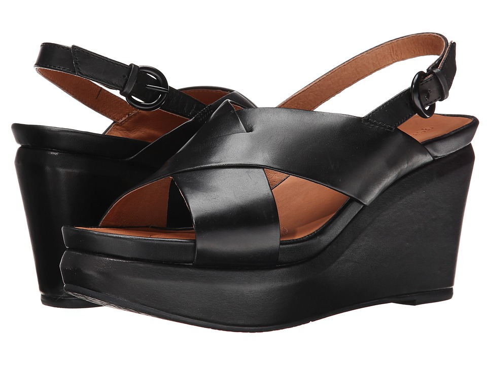 Gentle Souls - Jayne (Black Leather) Women's Wedge Shoes