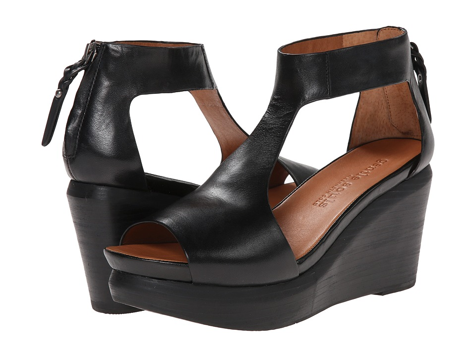 Gentle Souls - Juniper Tea (Black Leather) Women's Wedge Shoes