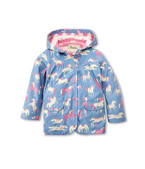 Hatley Kids - Hearts Horses Raincoat (Toddler/Little Kids/Big Kids) (Blue) Girl's Coat