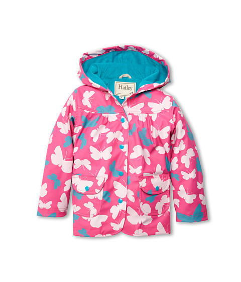 Hatley Kids - Graphic Butterflies Raincoat (Toddler/Little Kids/Big Kids) (Pink) Girl's Coat