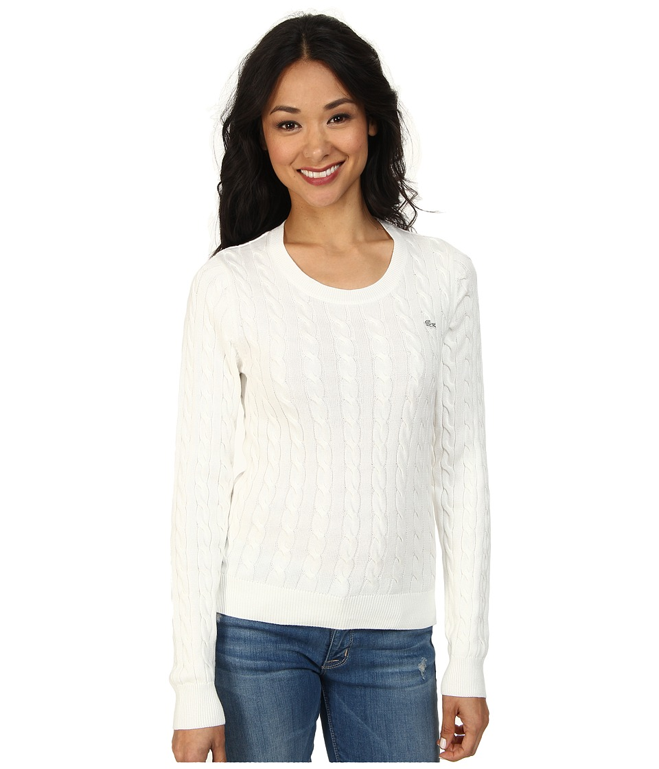 Lacoste - Long Sleeve Cotton Cable Knit Sweater (Cake Flour White) Women's Sweater