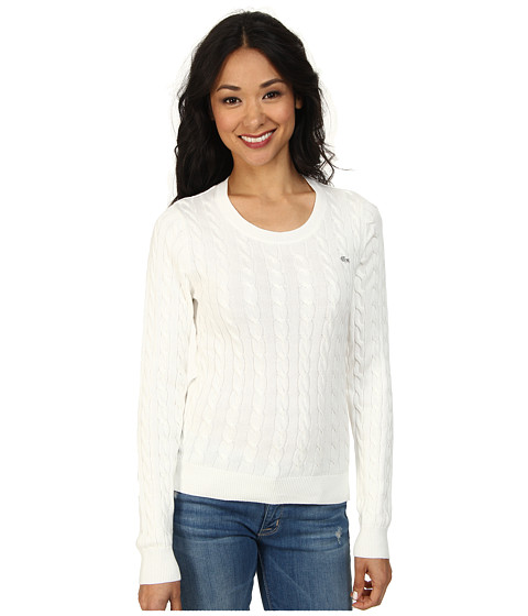 Lacoste - Long Sleeve Cotton Cable Knit Sweater (Cake Flour White) Women