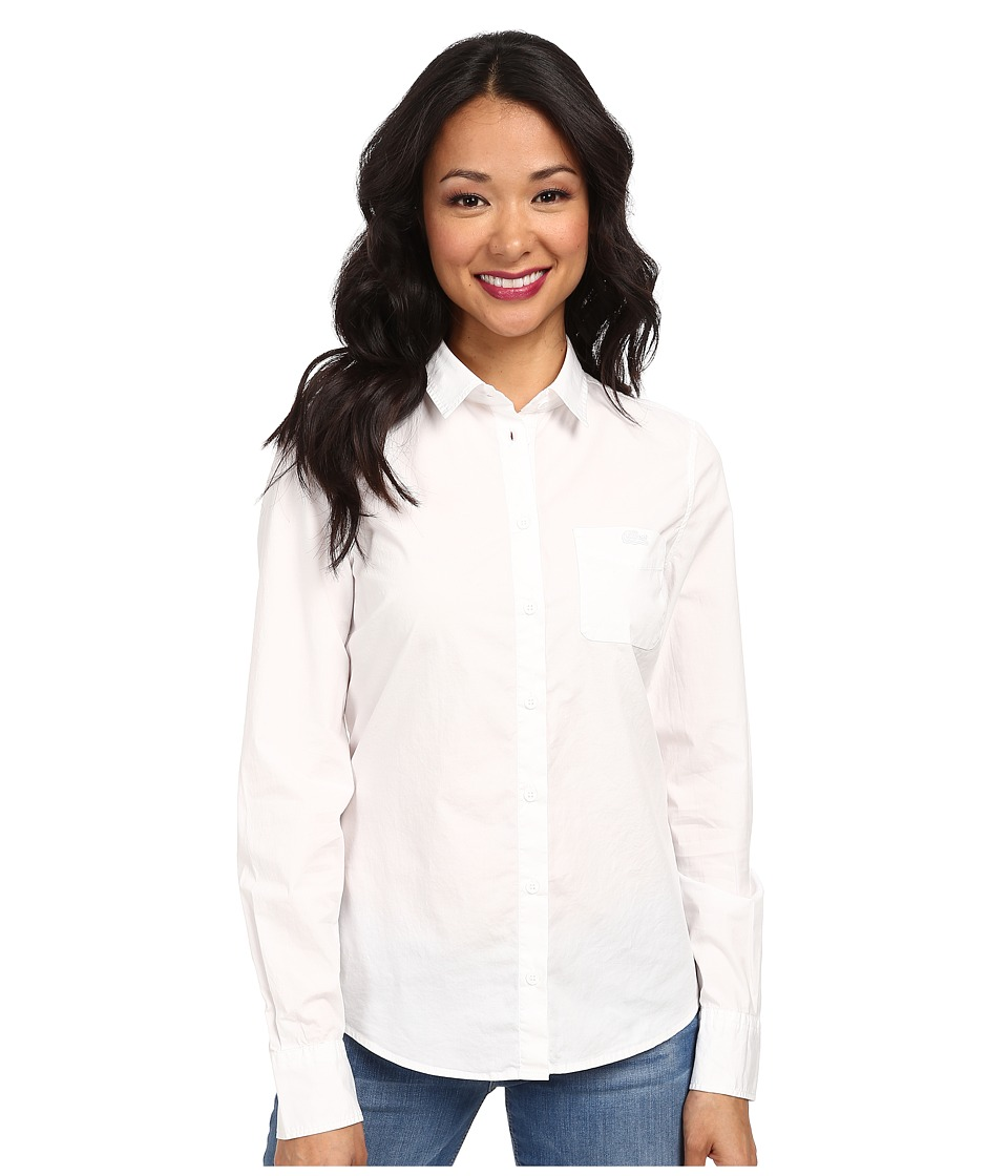 Lacoste - Long Sleeve Chest Pocket Stretch Cotton Poplin Shirt (White) Women