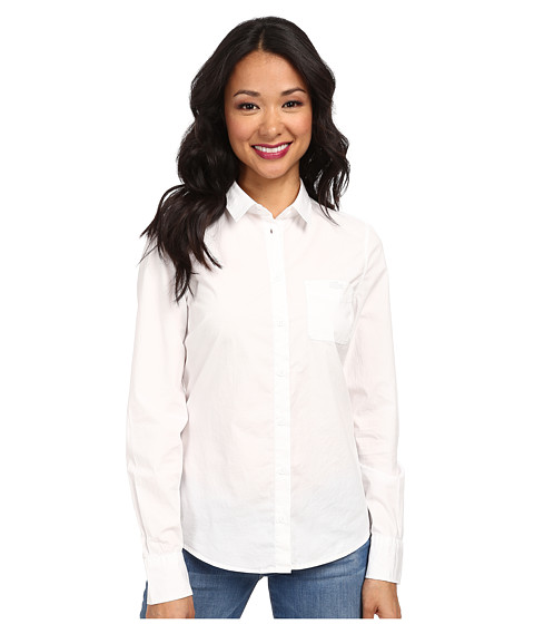 Lacoste - Long Sleeve Chest Pocket Stretch Cotton Poplin Shirt (White) Women's Long Sleeve Button Up
