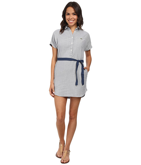 Lacoste - Short Sleeve Textured Dobby Shirt Dress (Philippines Blue/Flour) Women