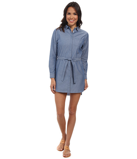 Lacoste - Long Sleeve Chambray Shirt Dress (Light Blue) Women's Dress