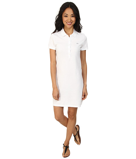 Lacoste - Short Sleeve Classic Pique Polo Dress (White) Women