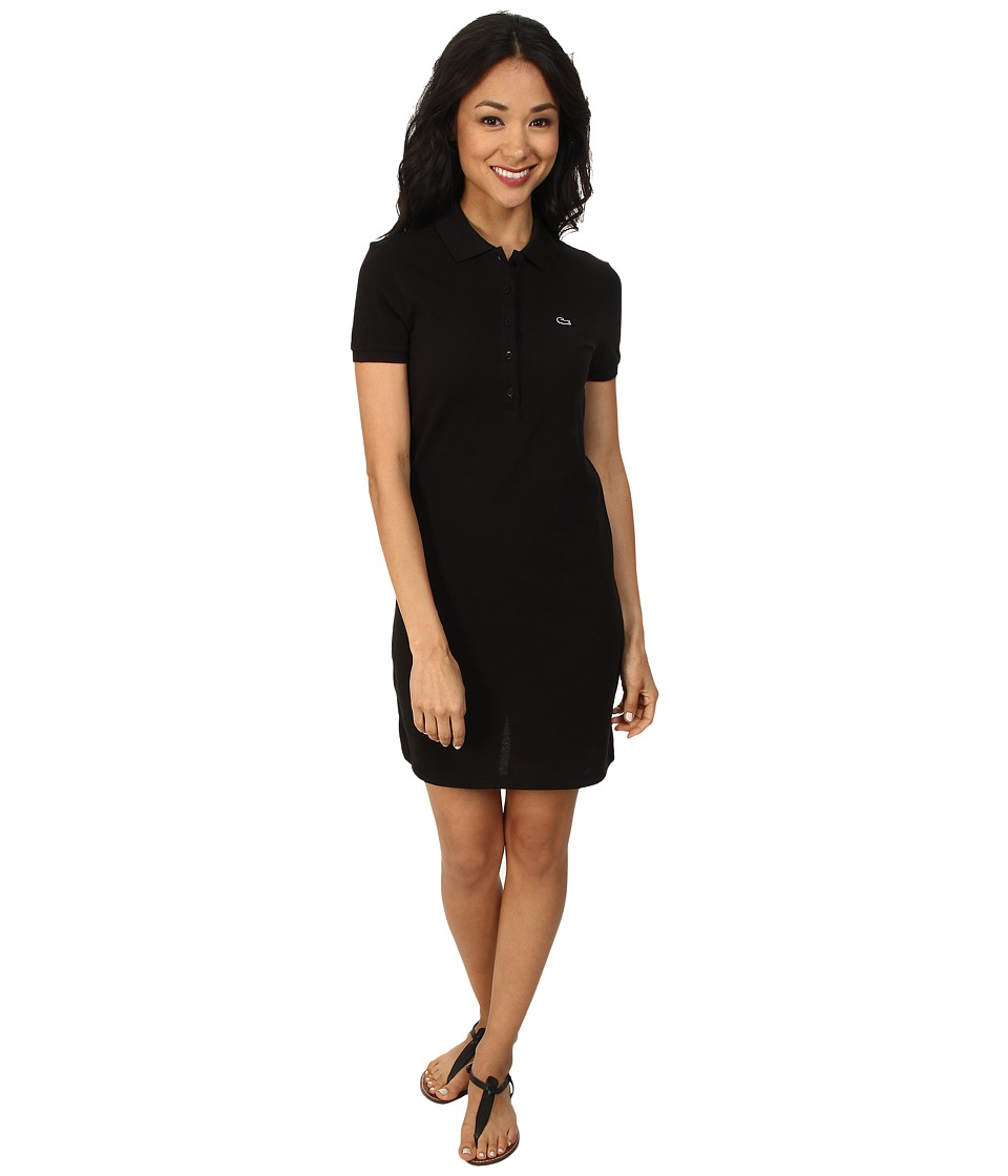 Lacoste - Short Sleeve Classic Pique Polo Dress (Black) Women's Dress
