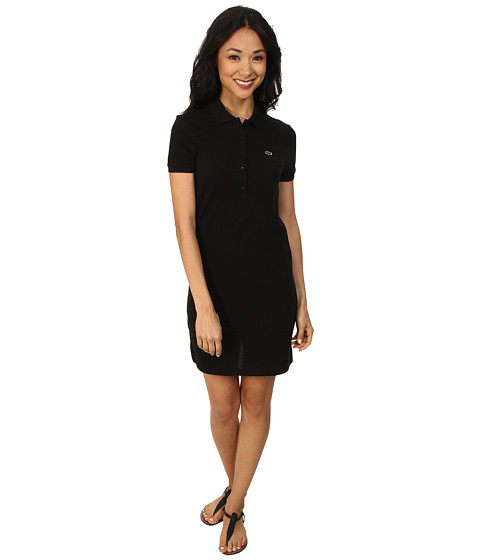 Lacoste - Short Sleeve Classic Pique Polo Dress (Black) Women