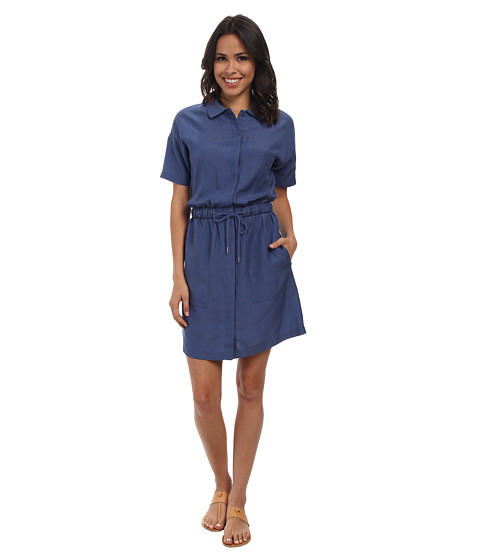 Lacoste - Short Sleeve Linen Shirt Dress (Philippines Blue) Women