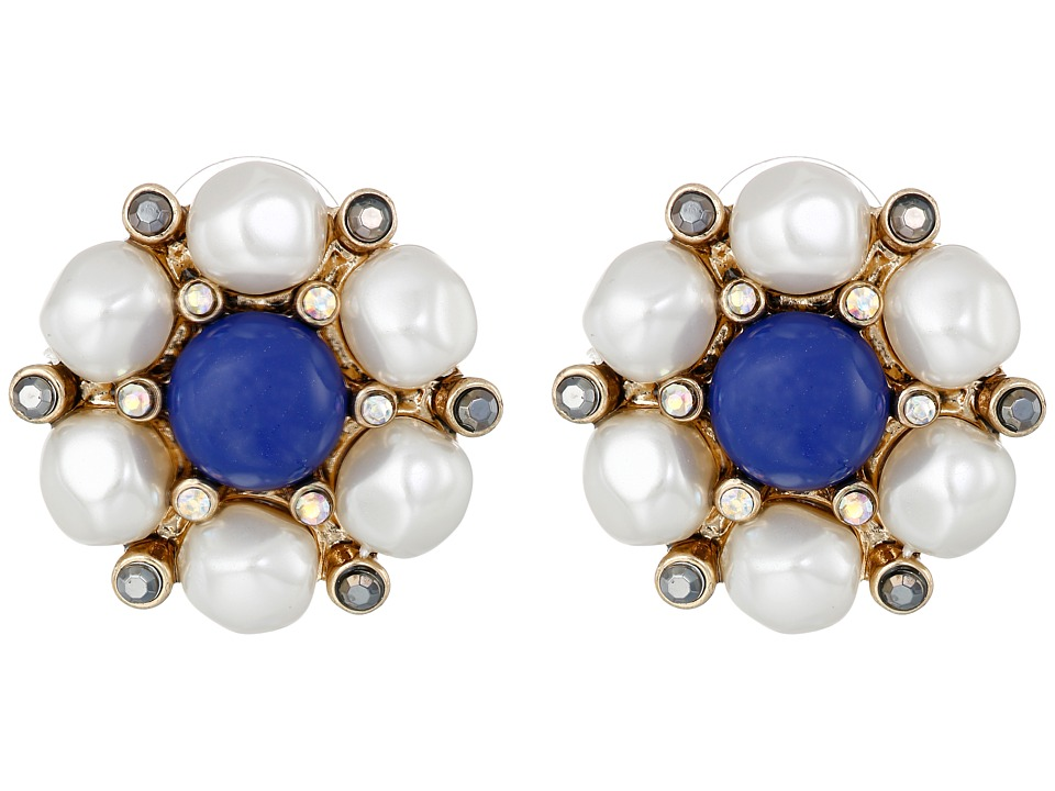 Betsey Johnson - Shipshape Pearl Button Stud Earrings (Multi) Earring