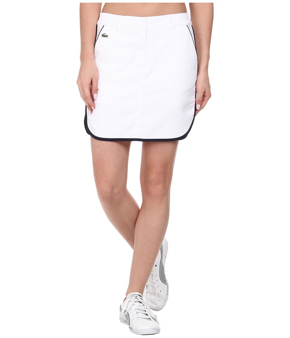 Lacoste - Contrast Tipped Stretch Gabardine Skirt (White/Navy Blue) Women's Skort