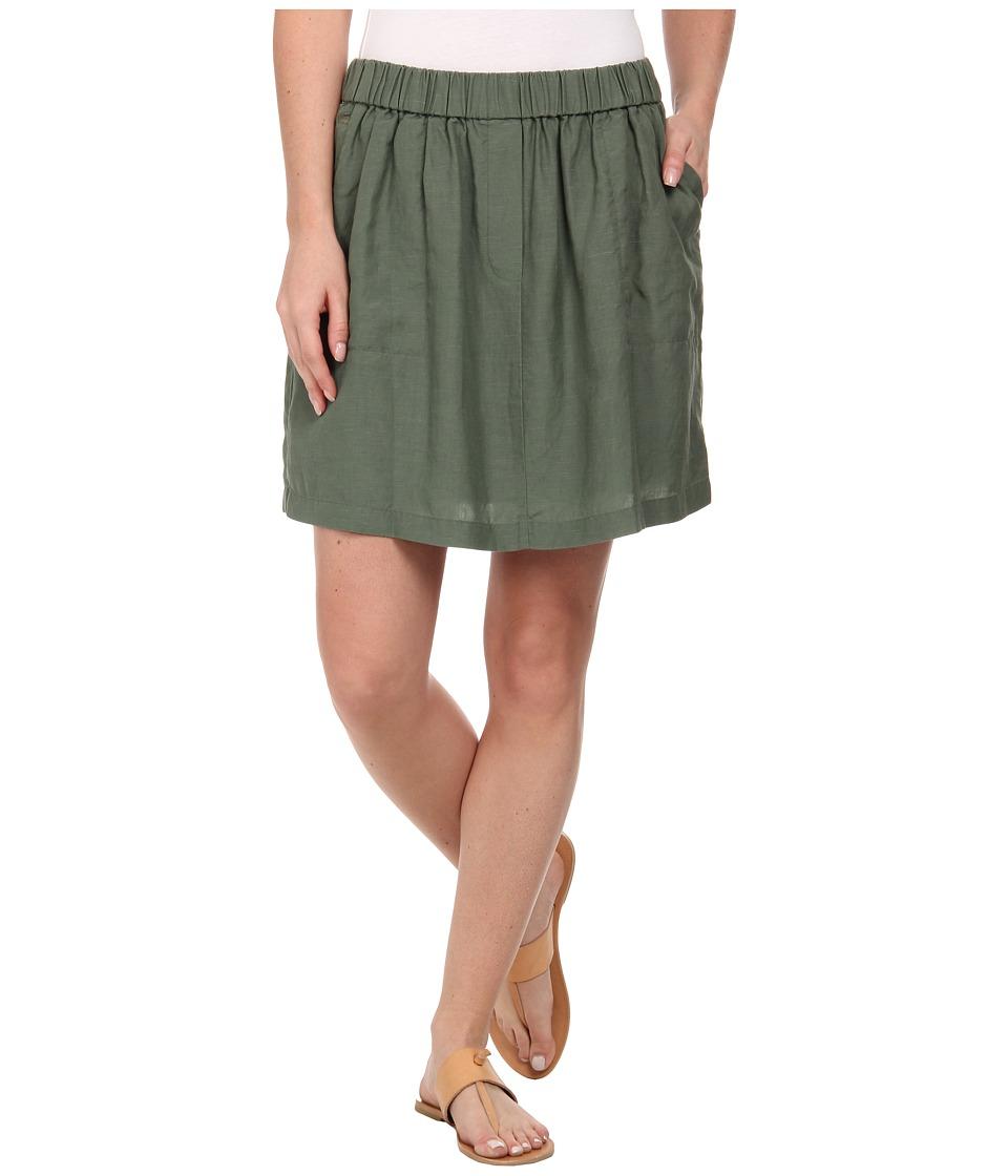 Lacoste - Elastic Waistband Linen A-Line Skirt (Silex Green) Women