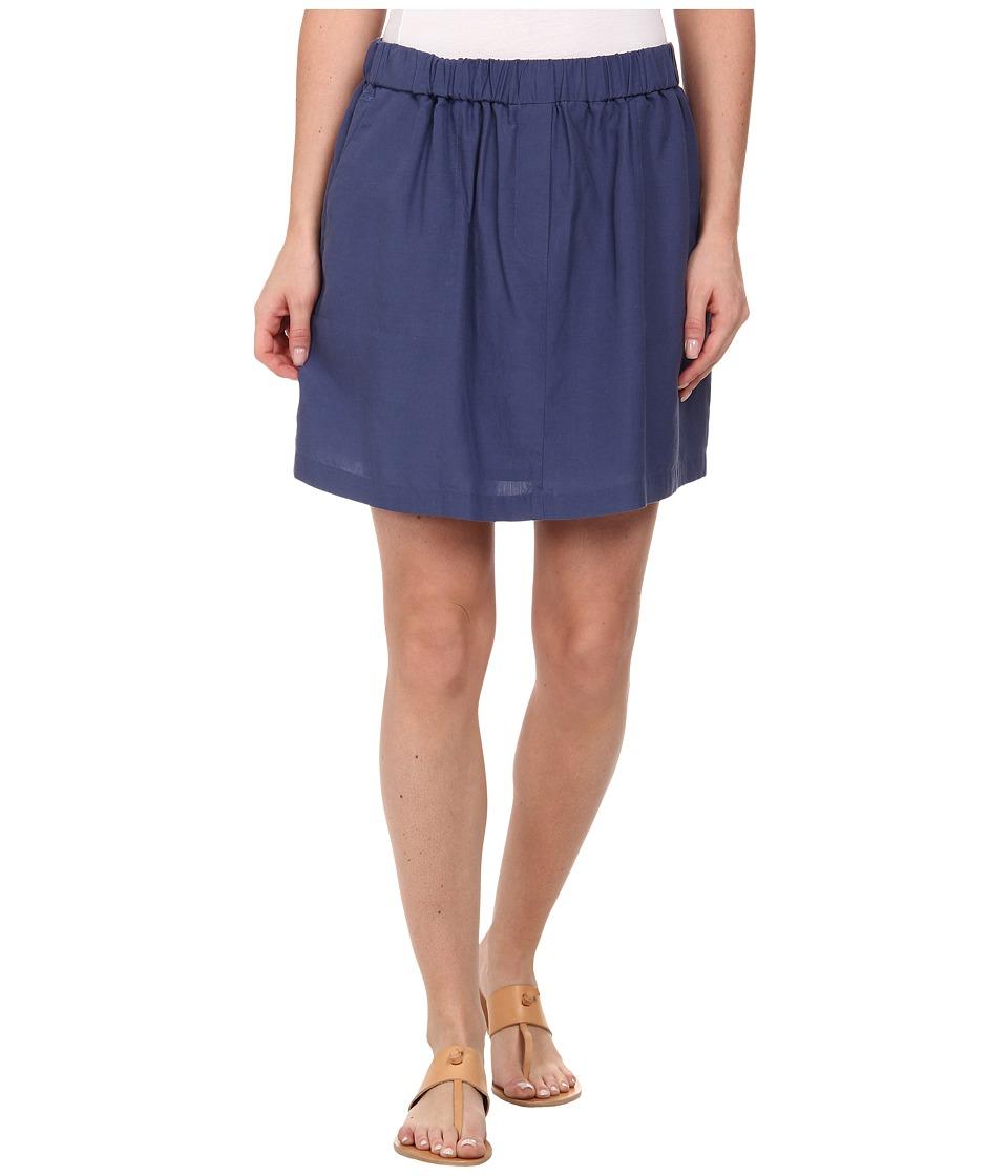 Lacoste - Elastic Waistband Linen A-Line Skirt (Philippines Blue) Women