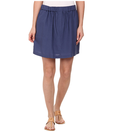 Lacoste - Elastic Waistband Linen A-Line Skirt (Philippines Blue) Women