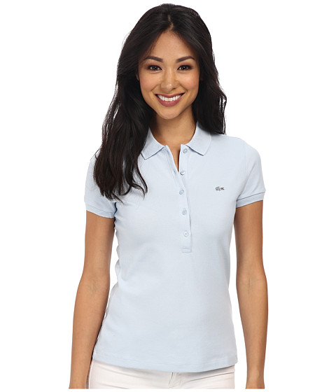 Lacoste - Short Sleeve Slim Fit Stretch Pique Polo Shirt (Polar Ice Blue) Women