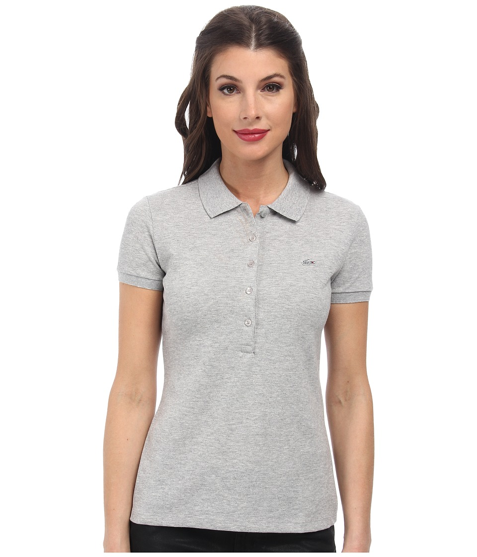 Lacoste - Short Sleeve Slim Fit Stretch Pique Polo Shirt (Silver Grey Chine) Women