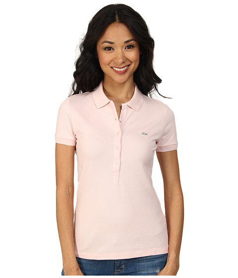 Lacoste - Short Sleeve Slim Fit Stretch Pique Polo Shirt (Silk Pink) Women