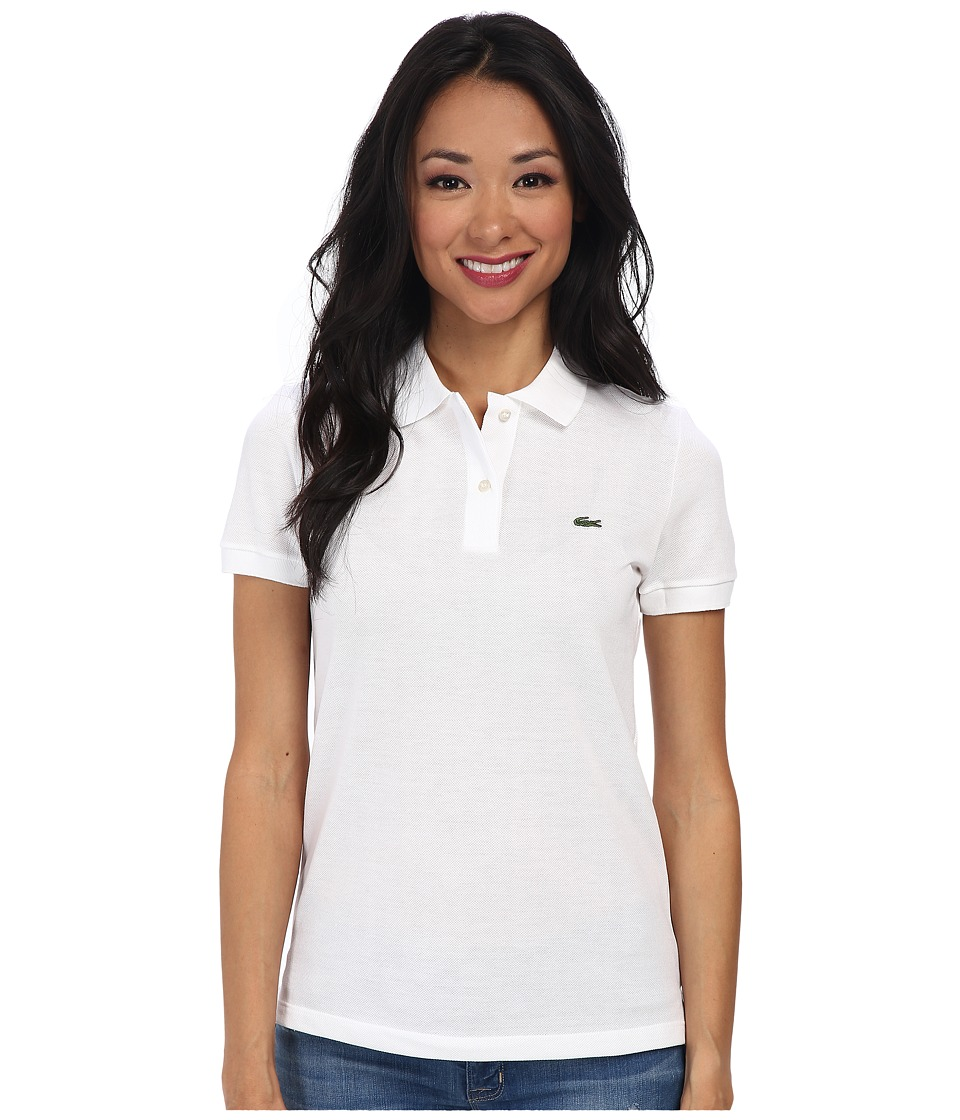 Lacoste - Short Sleeve Classic Fit Pique Polo Shirt (White) Women's Short Sleeve Knit