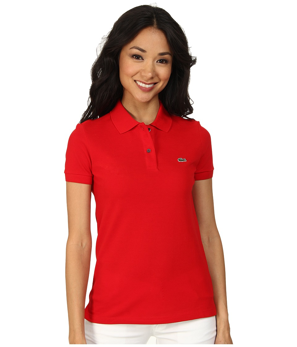 Lacoste - Short Sleeve Classic Fit Pique Polo Shirt (Red) Women's Short Sleeve Knit