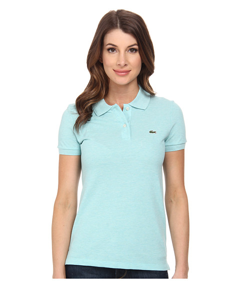 Lacoste - Short Sleeve Classic Fit Pique Polo Shirt (Corsica Aqua Chine) Women's Short Sleeve Knit