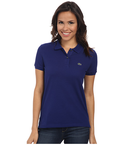 Lacoste - Short Sleeve Classic Fit Pique Polo Shirt (Varsity Blue) Women's Short Sleeve Knit