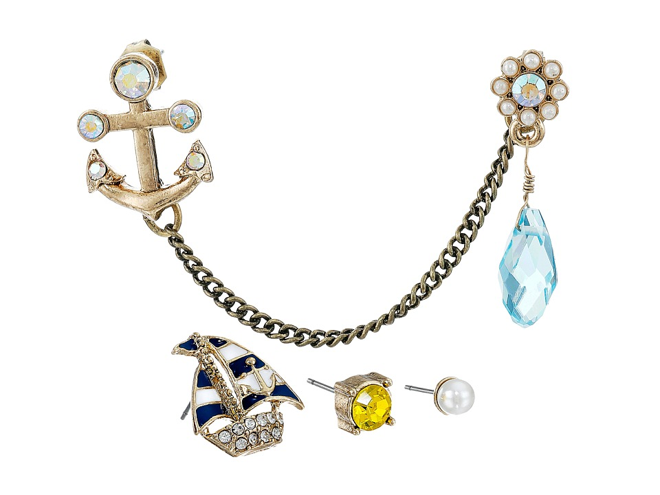 Betsey Johnson - Shipshape Nautical Set of Five Stud Earrings (Multi) Earring