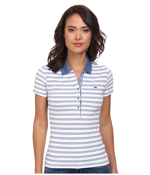 Lacoste - Short Sleeve Slim Fit Stripe Pique Polo Shirt (Admiral Blue/White) Women's Short Sleeve Knit