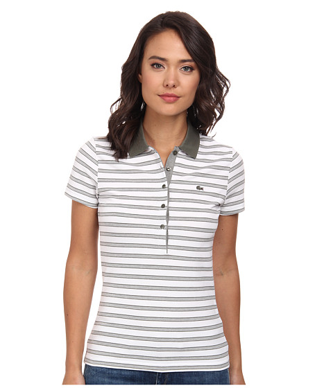 Lacoste - Short Sleeve Slim Fit Stripe Pique Polo Shirt (Army/White) Women's Short Sleeve Knit