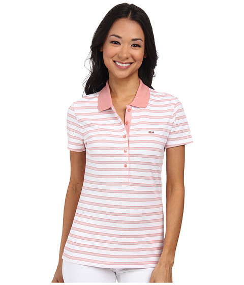 Lacoste - Short Sleeve Slim Fit Stripe Pique Polo Shirt (Trianon Pink/White) Women's Short Sleeve Knit