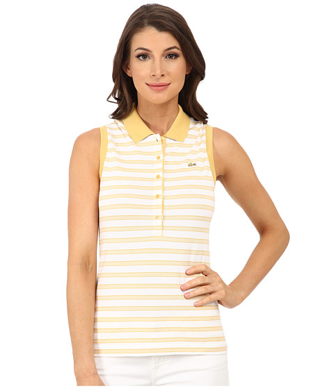 Lacoste - Sleeveless Slim Fit Stripe Pique Polo Shirt (Gold/White) Women's Short Sleeve Knit