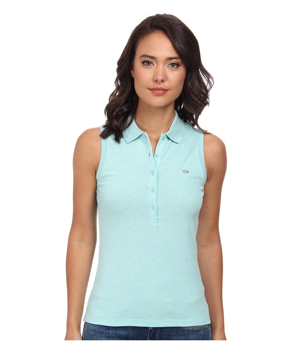 Lacoste - Sleeveless Slim Fit Stretch Pique Polo Shirt (Corsica Aqua Chine) Women