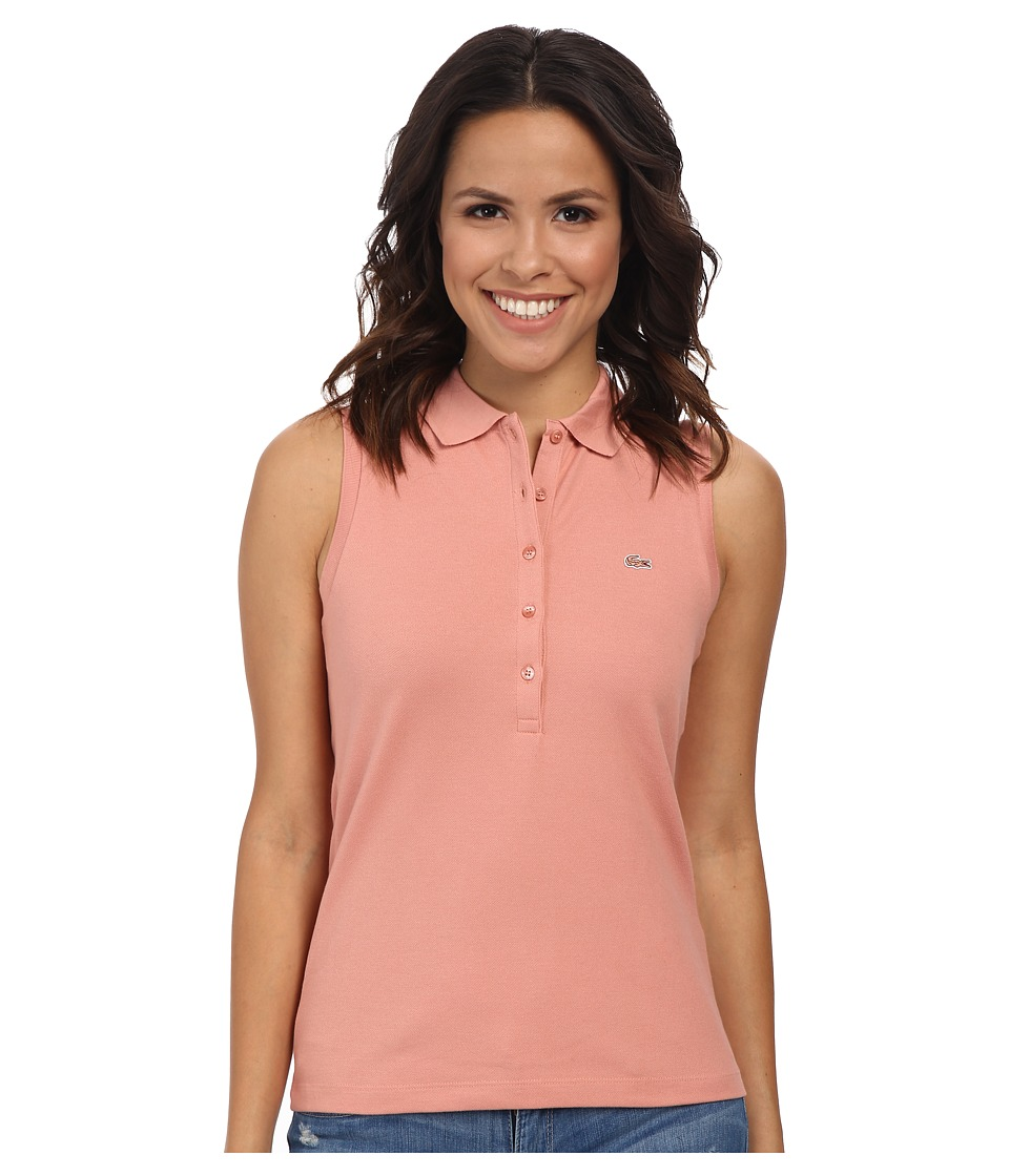 Lacoste - Sleeveless Slim Fit Stretch Pique Polo Shirt (Trianon Pink) Women