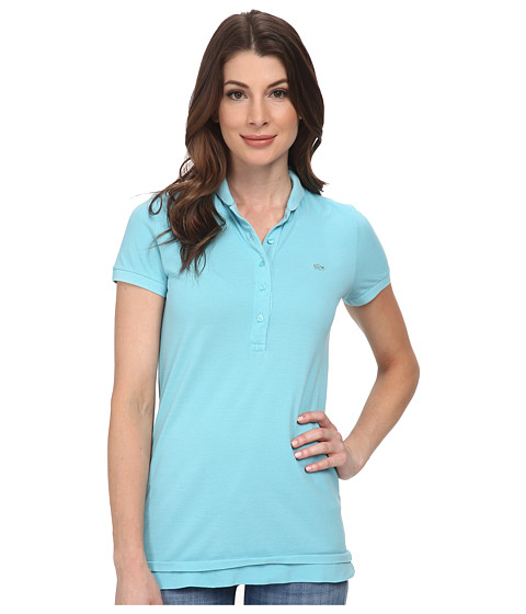 Lacoste - Short Sleeve Sun Washed Polo Shirt (Corsica Aqua Used) Women