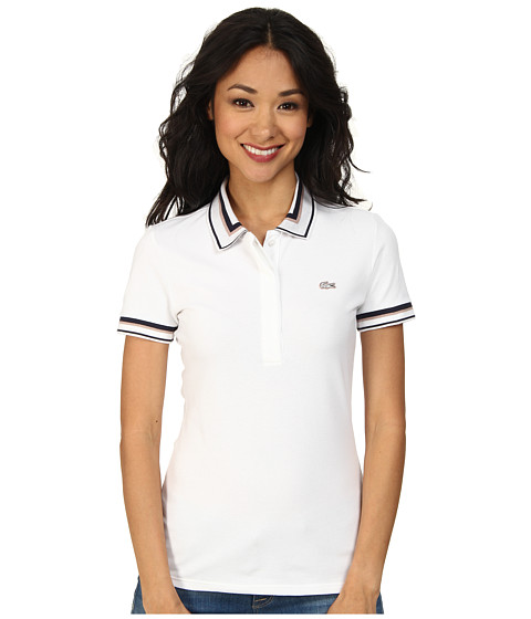 Lacoste - Short Sleeve Contrast Tipped Collar Polo Shirt (White/Navy Blue/Pralin) Women's Short Sleeve Knit