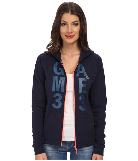 Lacoste - Long Sleeve Graphic Hooded Zip Up Sweatshirt (Navy Blue/Poetic Blue) Women